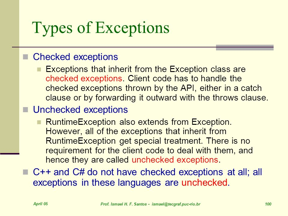 Types of Exceptions Checked exceptions Unchecked exceptions