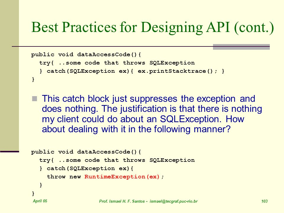 Best Practices for Designing API (cont.)