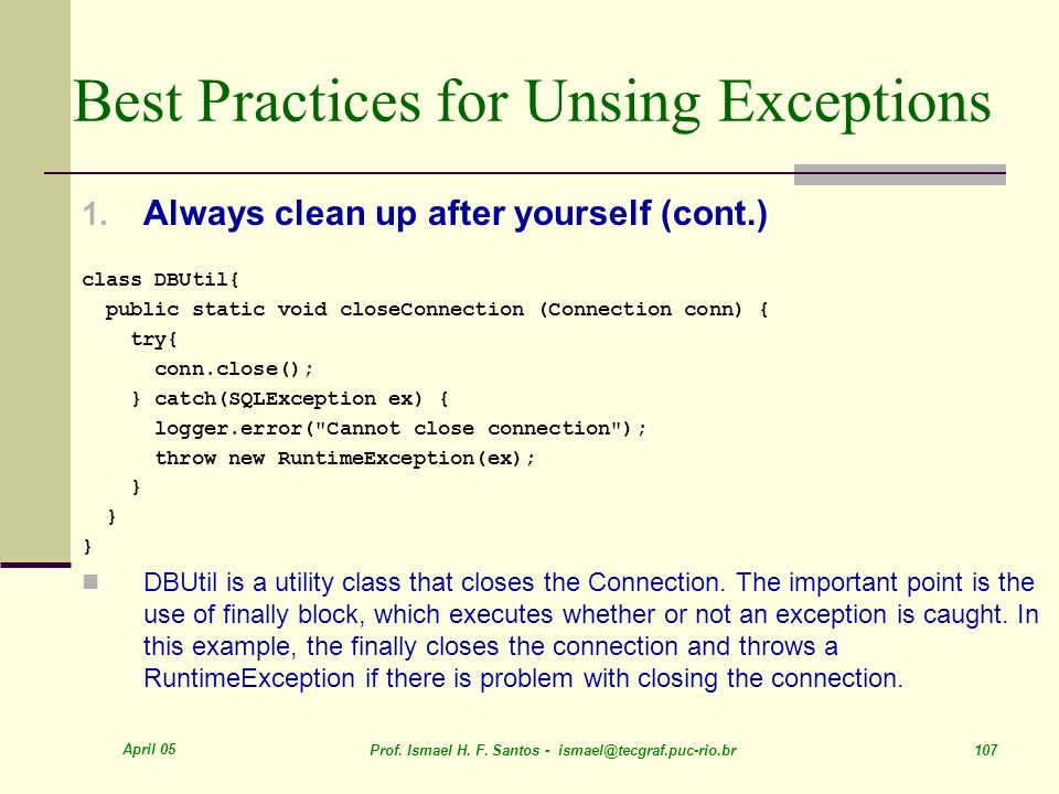 Best Practices for Unsing Exceptions