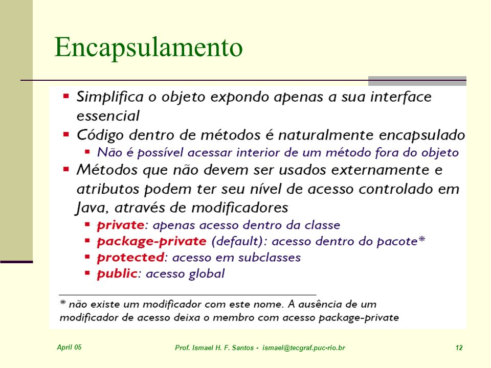 Encapsulamento April 05. Prof. Ismael H. F.