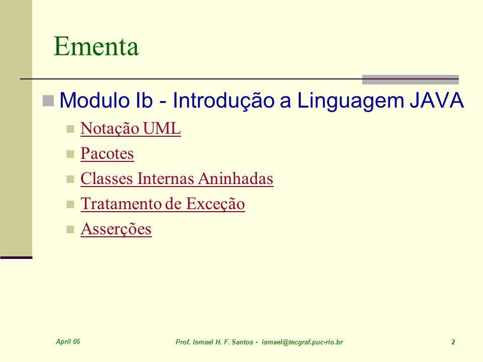 Ementa Modulo Ib - Introdução a Linguagem JAVA Notação UML Pacotes