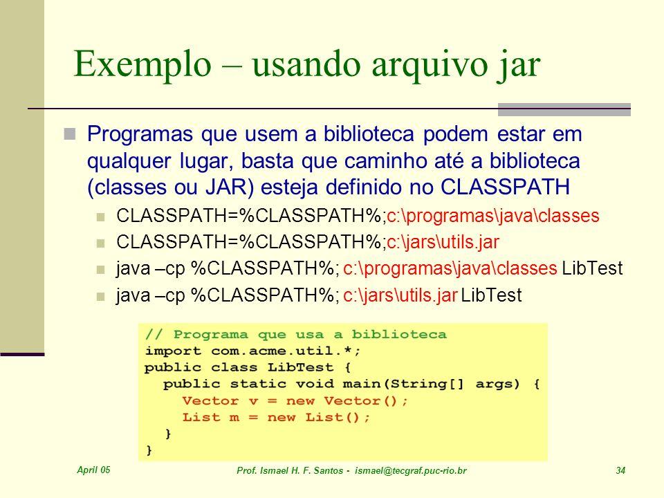Exemplo – usando arquivo jar