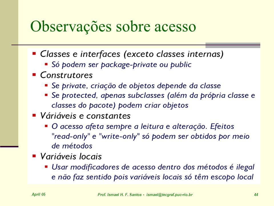Observações sobre acesso