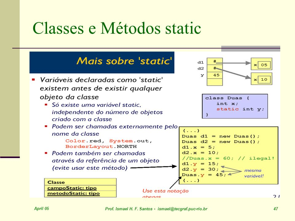 Classes e Métodos static