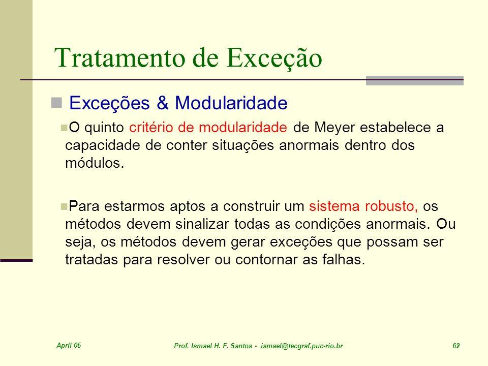 Tratamento de Exceção Exceções & Modularidade