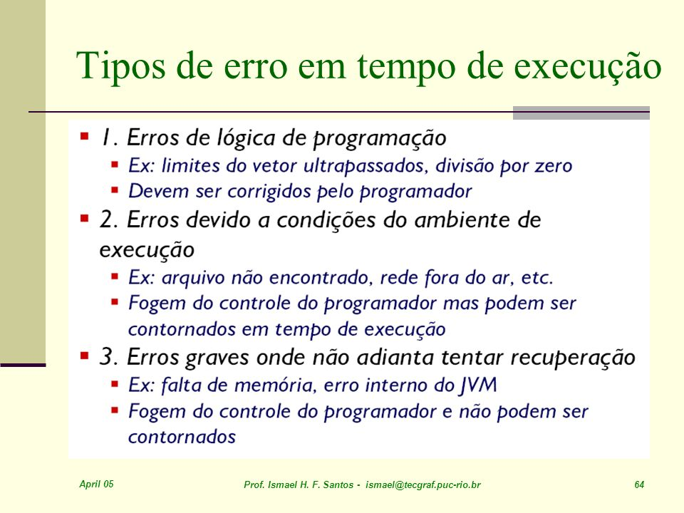 Tipos de erro em tempo de execução