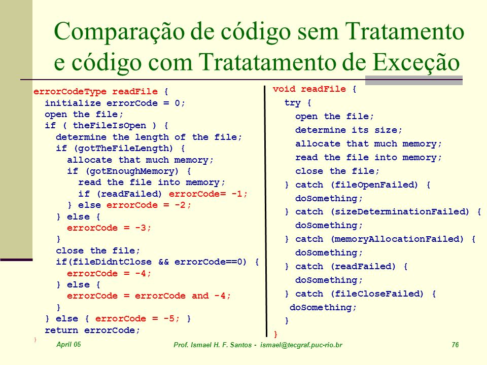 Comparação de código sem Tratamento e código com Tratatamento de Exceção