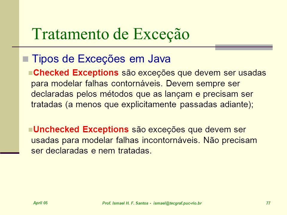 Tratamento de Exceção Tipos de Exceções em Java