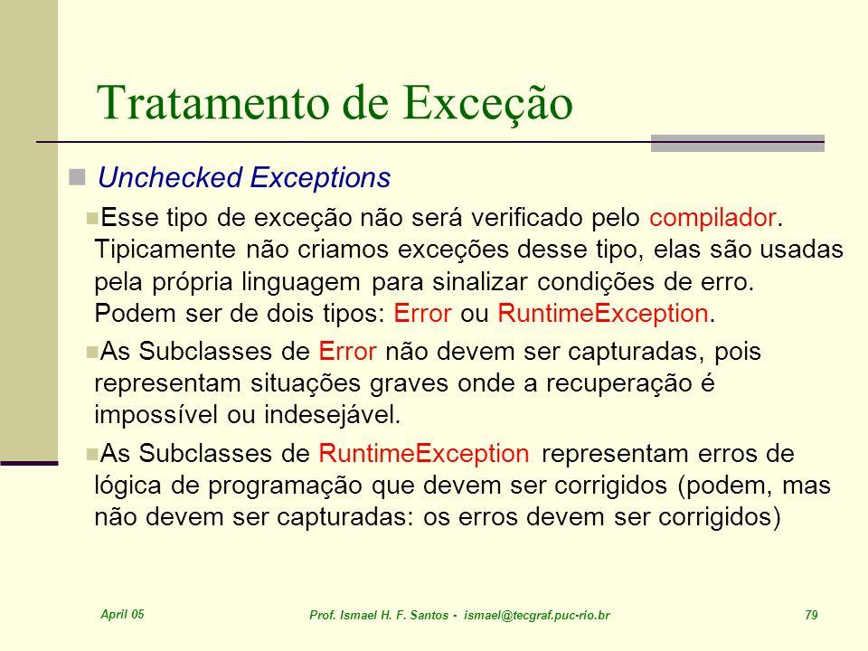 Tratamento de Exceção Unchecked Exceptions