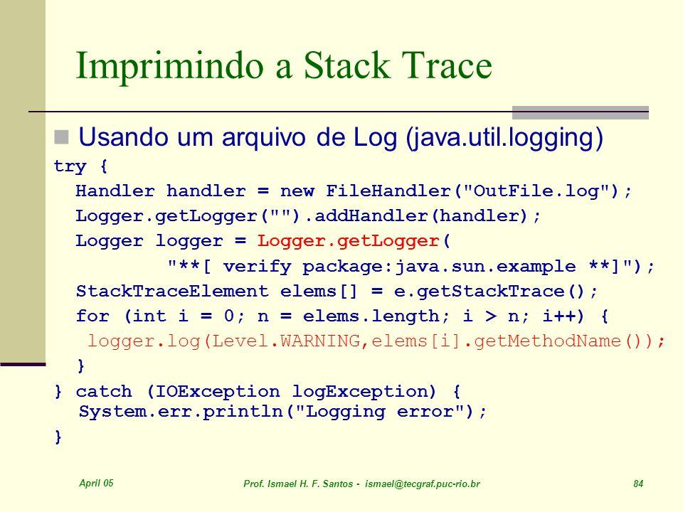 Imprimindo a Stack Trace