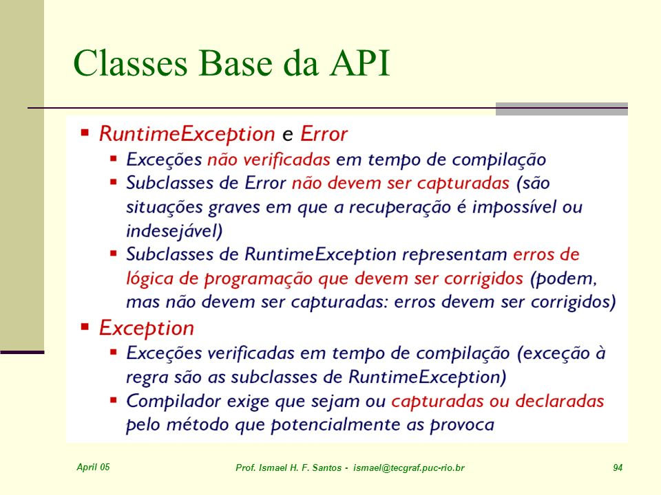 Classes Base da API April 05
