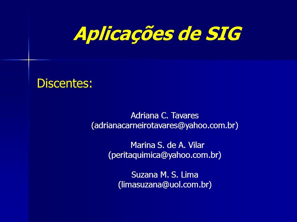 Aplicações de SIG Discentes: Adriana C. Tavares