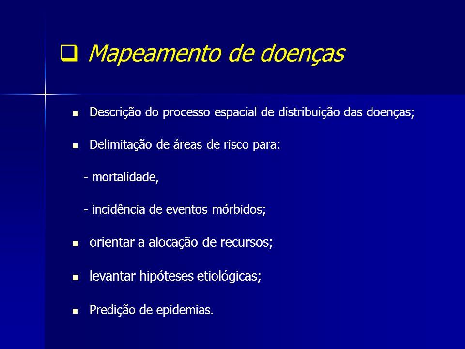 Mapeamento de doenças orientar a alocação de recursos;