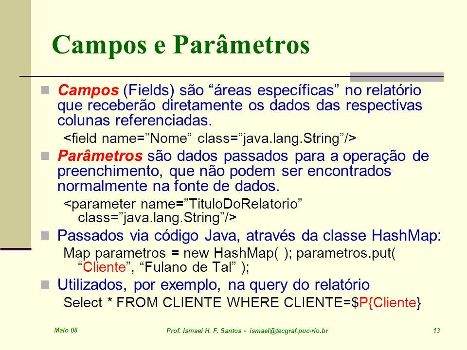 Campos e Parâmetros Campos (Fields) são áreas específicas no relatório que receberão diretamente os dados das respectivas colunas referenciadas.