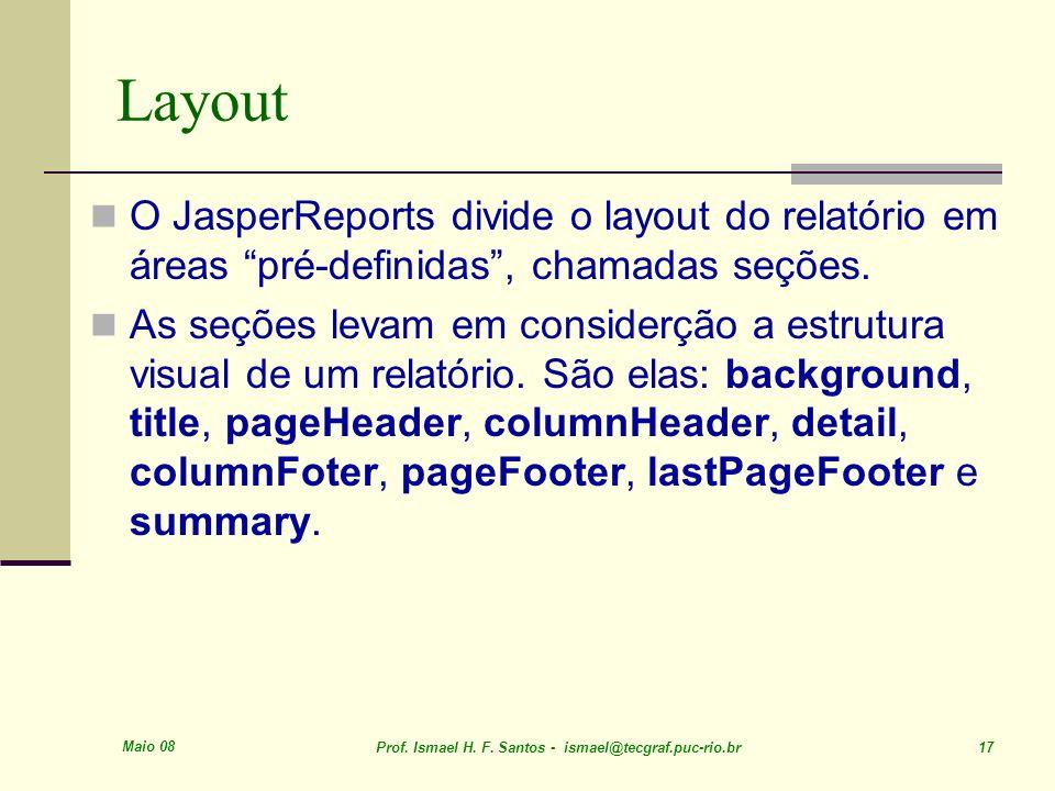 Layout O JasperReports divide o layout do relatório em áreas pré-definidas , chamadas seções.