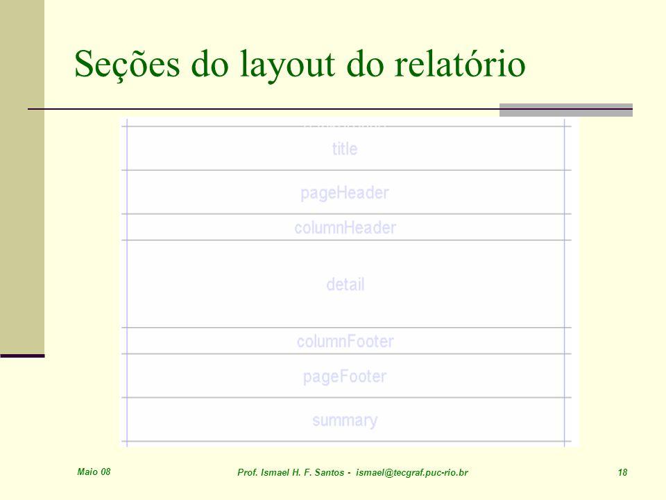 Seções do layout do relatório