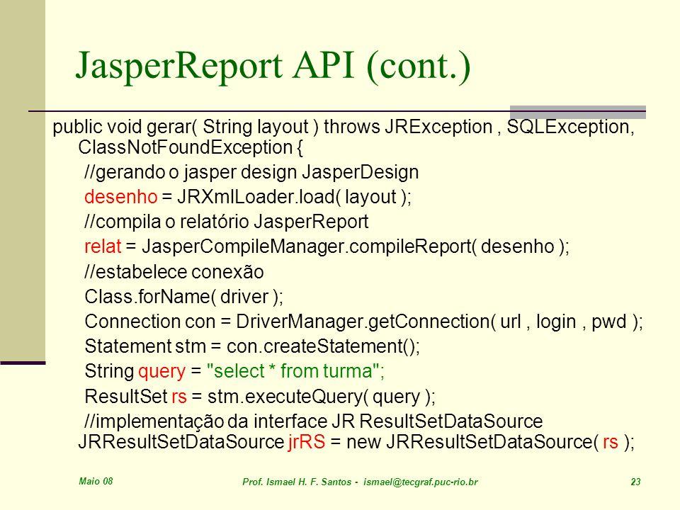 JasperReport API (cont.)