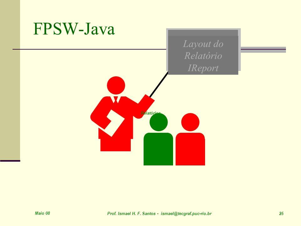 FPSW-Java Layout do Relatório IReport Relatórios Maio 08