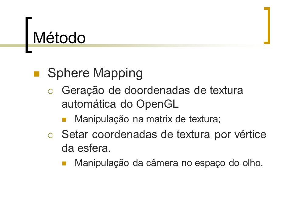 MétodoSphere Mapping. Geração de doordenadas de textura automática do OpenGL. Manipulação na matrix de textura;