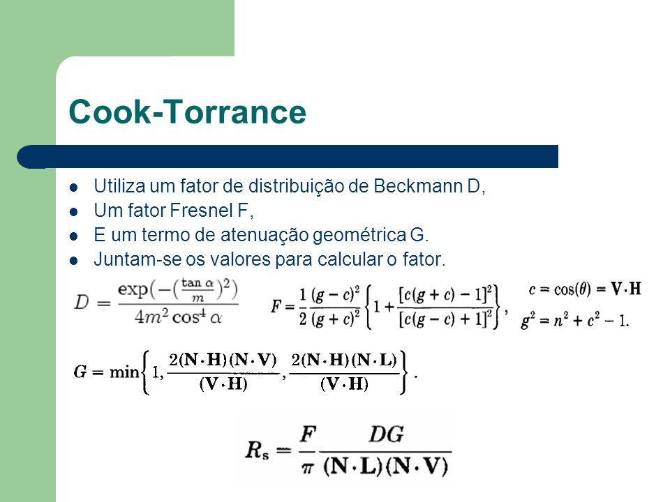 Cook-Torrance Utiliza um fator de distribuição de Beckmann D,