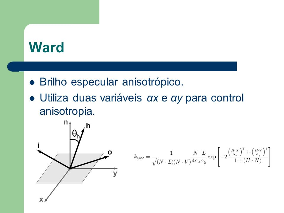 Ward Brilho especular anisotrópico.