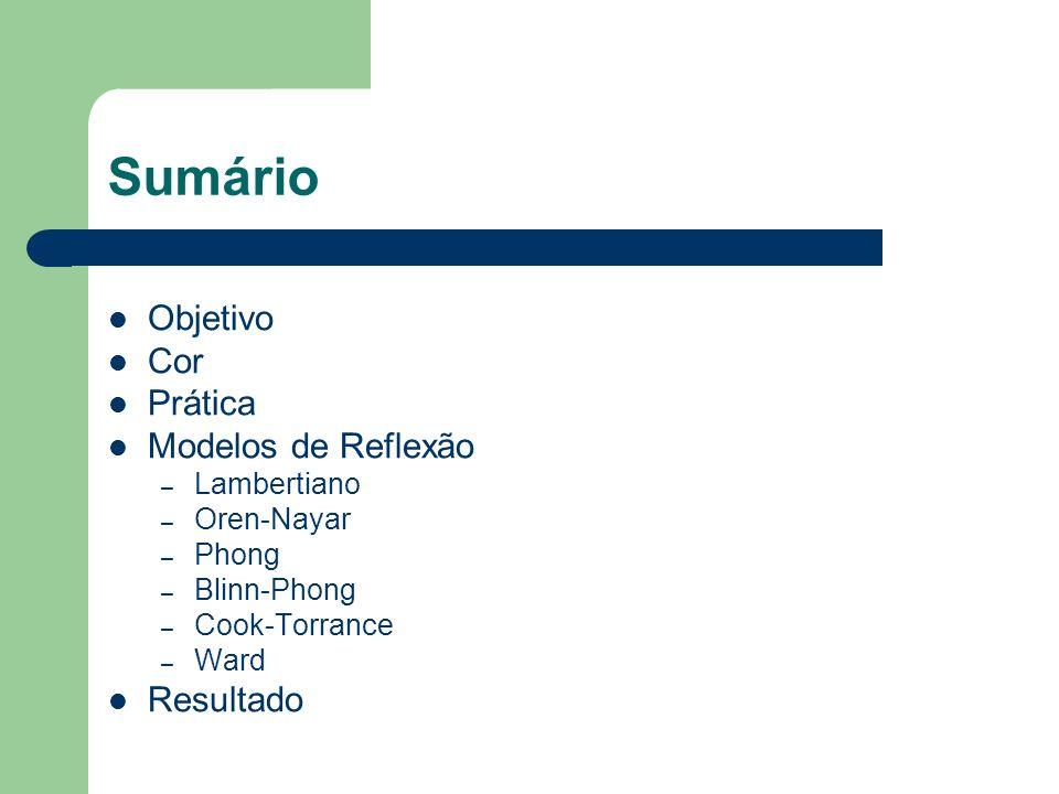 Sumário Objetivo Cor Prática Modelos de Reflexão Resultado Lambertiano