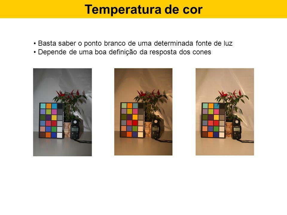 Temperatura de cor Basta saber o ponto branco de uma determinada fonte de luz.