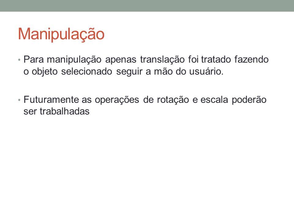 Manipulação Para manipulação apenas translação foi tratado fazendo o objeto selecionado seguir a mão do usuário.