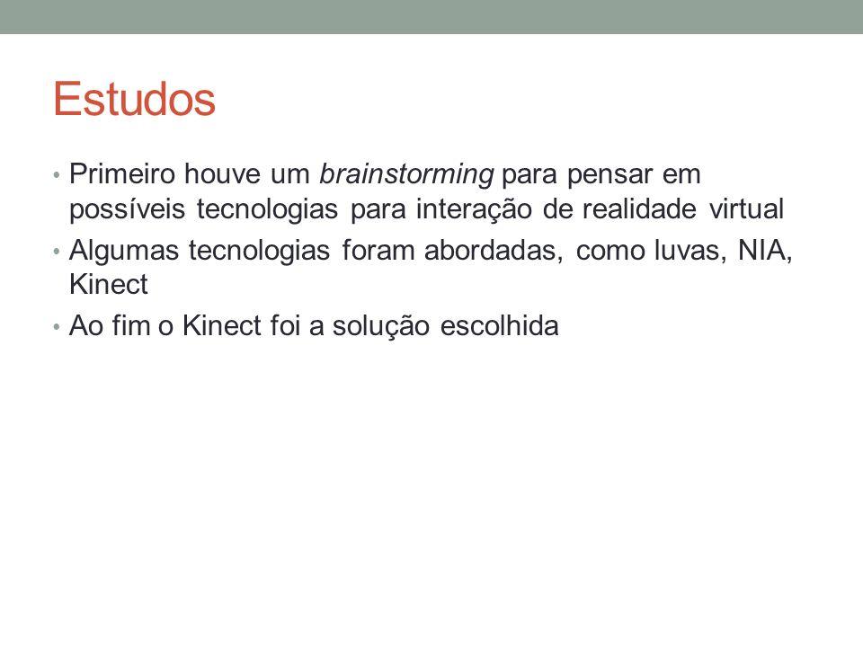 EstudosPrimeiro houve um brainstorming para pensar em possíveis tecnologias para interação de realidade virtual.