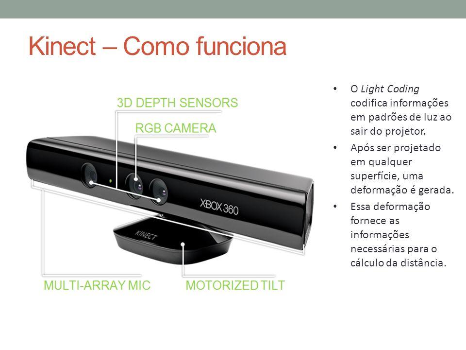 Kinect – Como funciona O Light Coding codifica informações em padrões de luz ao sair do projetor.