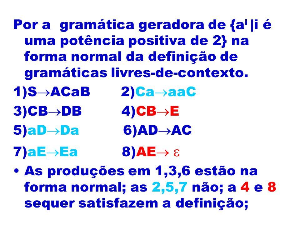 Por a gramática geradora de {ai |i é uma potência positiva de 2} na forma normal da definição de gramáticas livres-de-contexto.