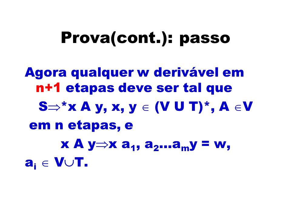 Prova(cont.): passoAgora qualquer w derivável em n+1 etapas deve ser tal que. S*x A y, x, y  (V U T)*, A V.