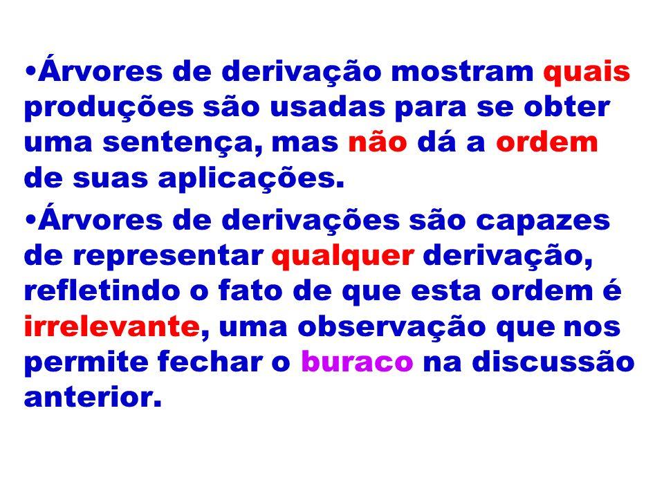 Árvores de derivação mostram quais produções são usadas para se obter uma sentença, mas não dá a ordem de suas aplicações.