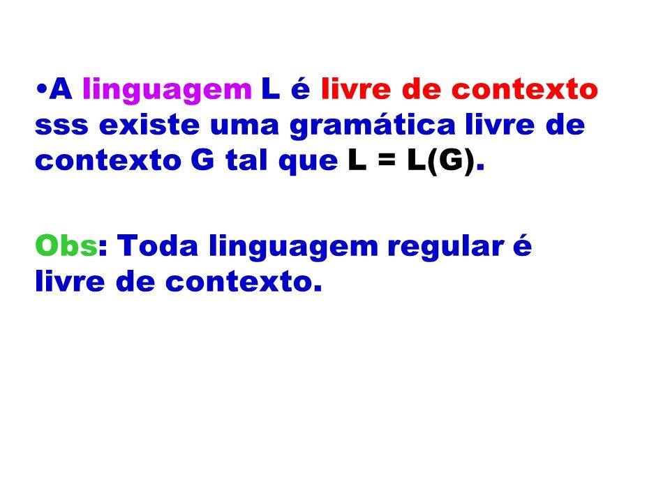 A linguagem L é livre de contexto sss existe uma gramática livre de contexto G tal que L = L(G).