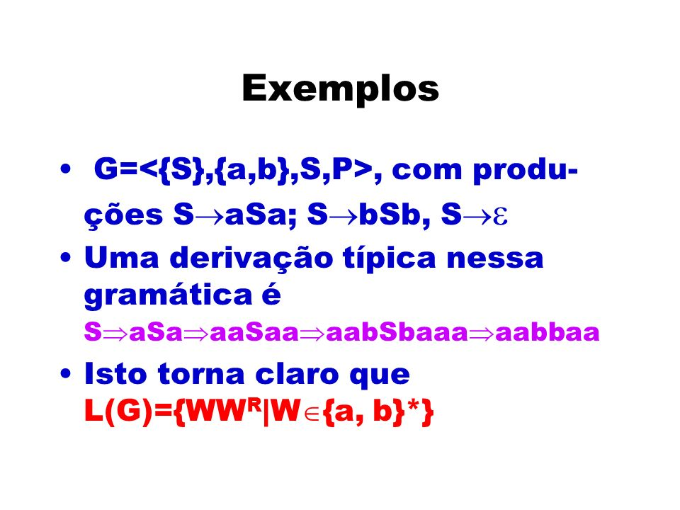 Exemplos G=<{S},{a,b},S,P>, com produ-ções SaSa; SbSb, S