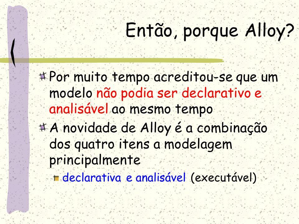 Então, porque Alloy Por muito tempo acreditou-se que um modelo não podia ser declarativo e analisável ao mesmo tempo.