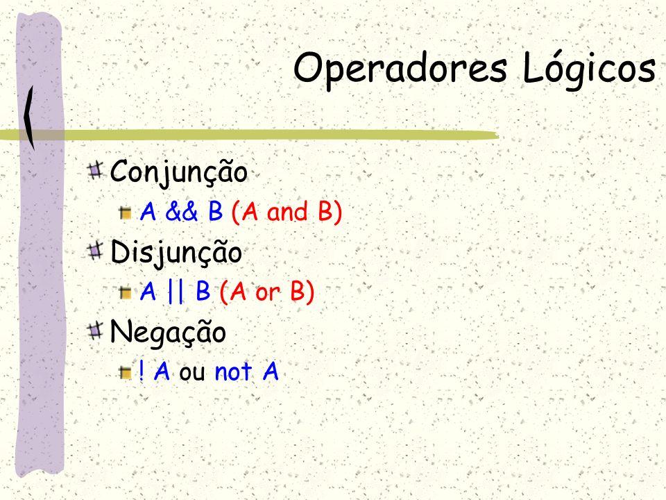 Operadores Lógicos Conjunção Disjunção Negação A && B (A and B)