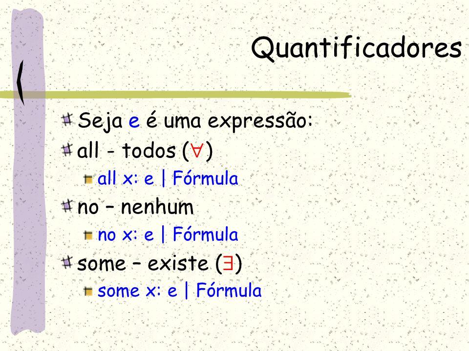 Quantificadores Seja e é uma expressão: all - todos () no – nenhum
