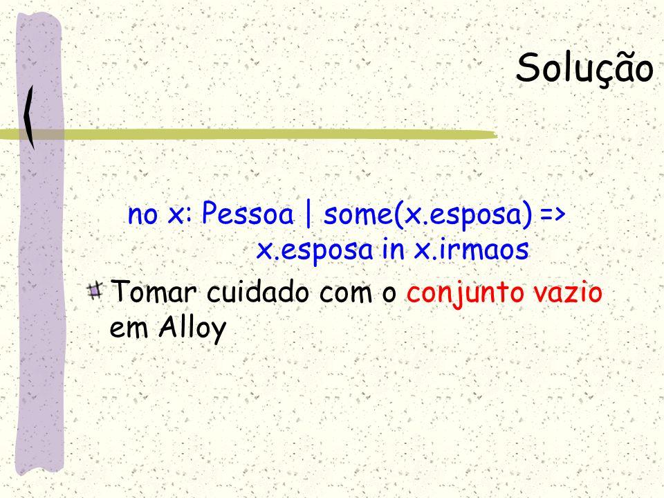 no x: Pessoa | some(x.esposa) => x.esposa in x.irmaos