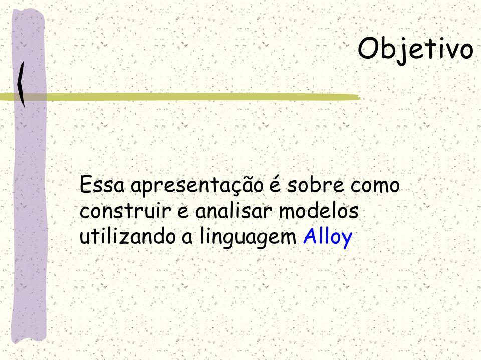 Objetivo Essa apresentação é sobre como construir e analisar modelos utilizando a linguagem Alloy