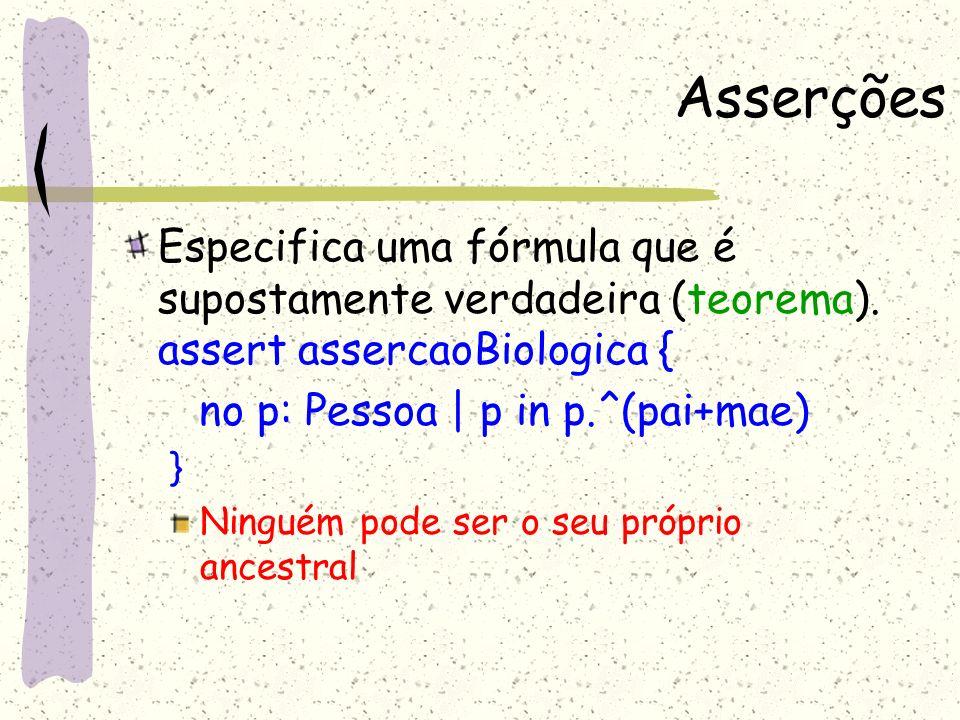 Asserções Especifica uma fórmula que é supostamente verdadeira (teorema). assert assercaoBiologica {