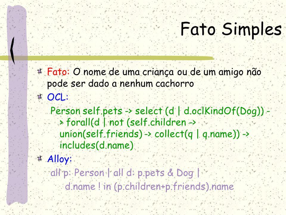 Fato Simples Fato: O nome de uma criança ou de um amigo não pode ser dado a nenhum cachorro. OCL: