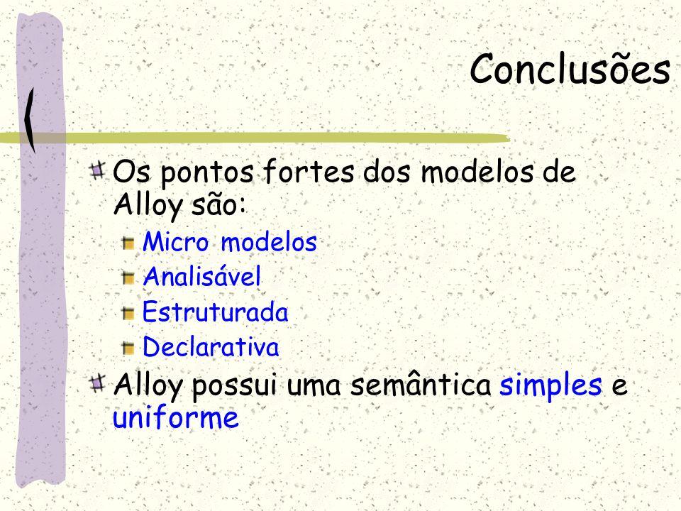 Conclusões Os pontos fortes dos modelos de Alloy são: