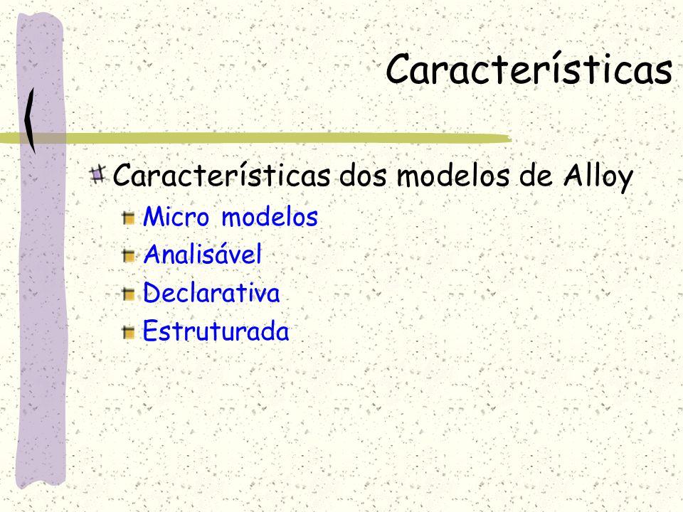 Características Características dos modelos de Alloy Micro modelos