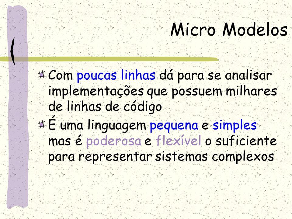 Micro Modelos Com poucas linhas dá para se analisar implementações que possuem milhares de linhas de código.