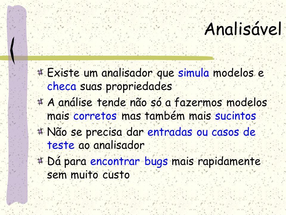 Analisável Existe um analisador que simula modelos e checa suas propriedades.