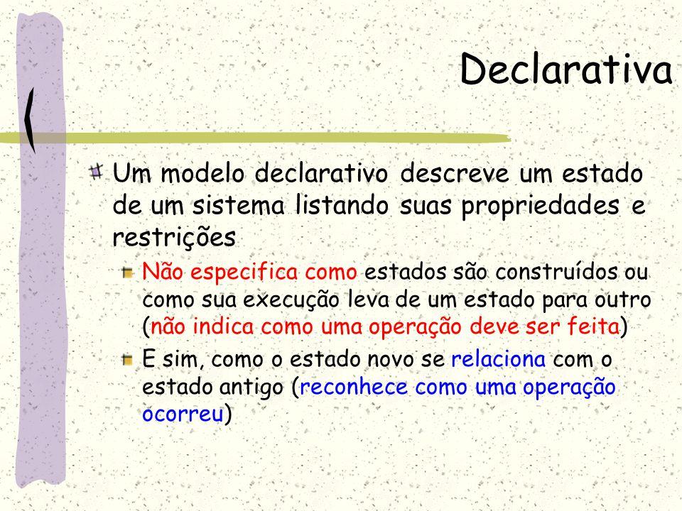 DeclarativaUm modelo declarativo descreve um estado de um sistema listando suas propriedades e restrições.