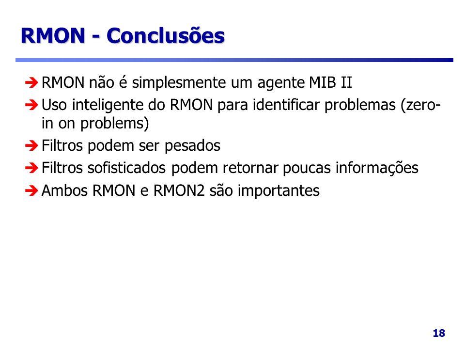 RMON - Conclusões RMON não é simplesmente um agente MIB II