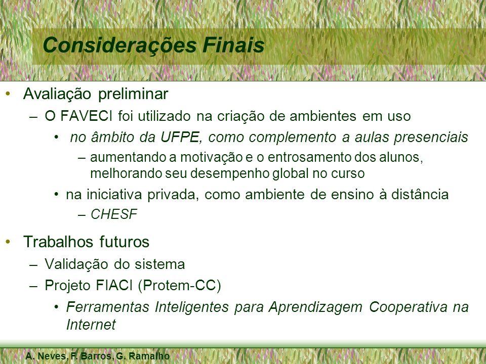 A. Neves, F. Barros, G. Ramalho