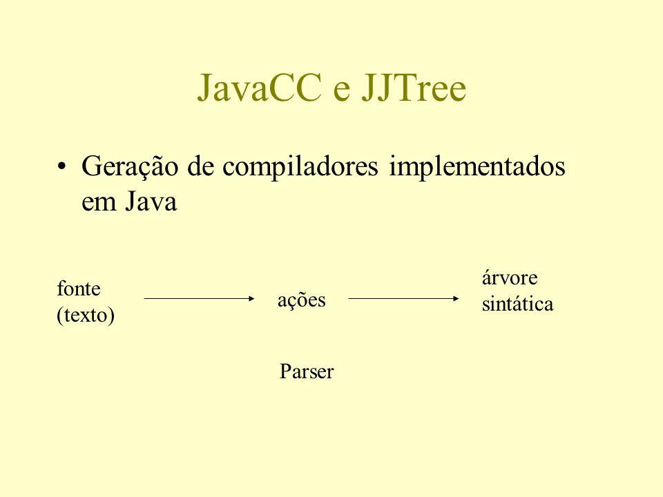JavaCC e JJTree Geração de compiladores implementados em Java